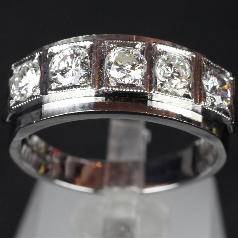 H.M London 1977 18ct White Gold Hand Made Five Stone diamond Ring