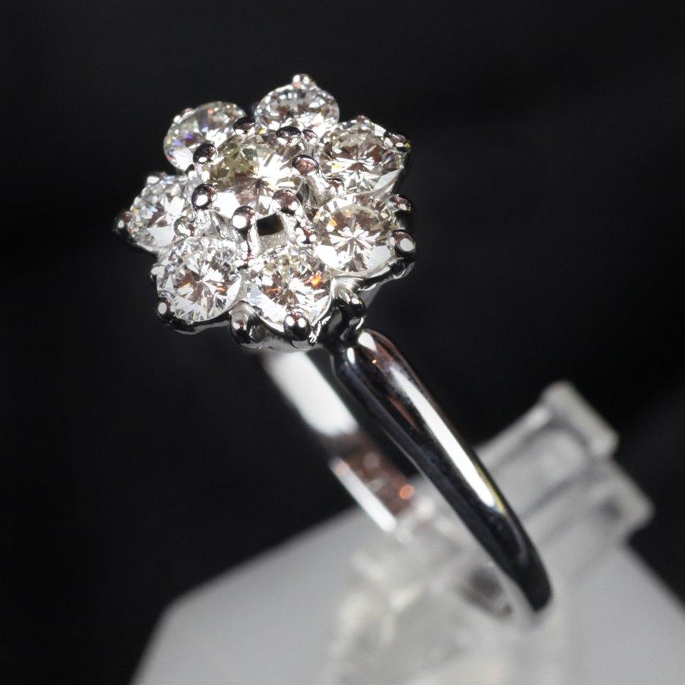 14ct White Gold Diamond Cluster Ring