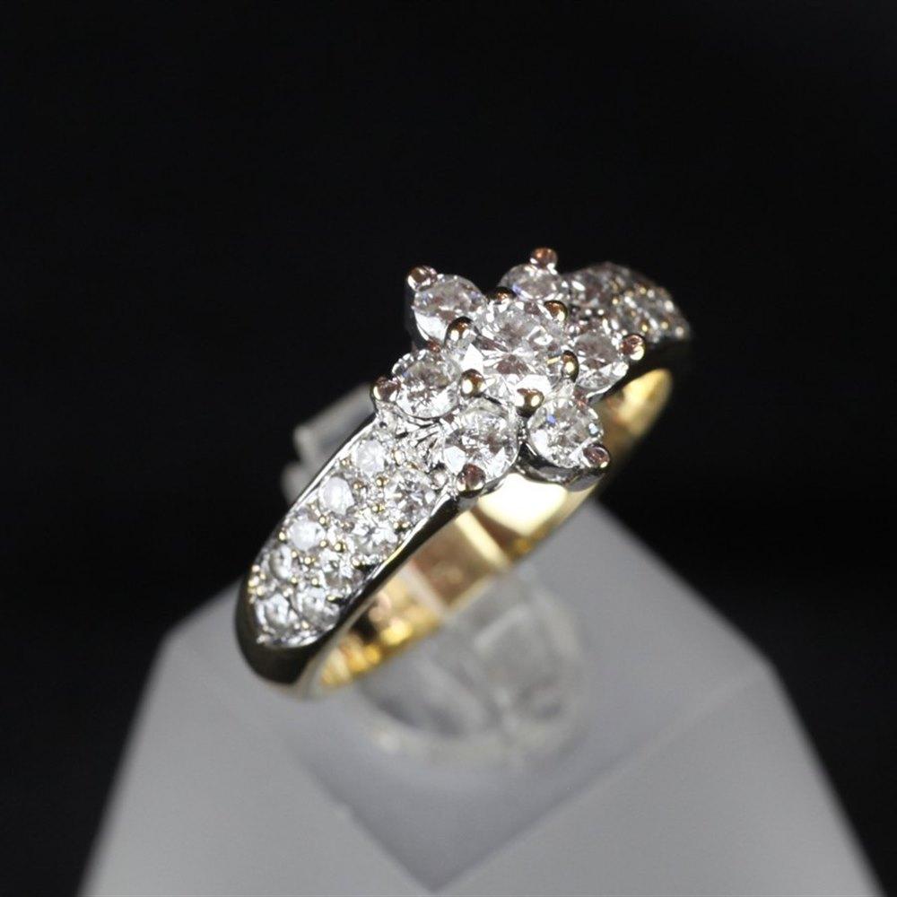 18ct Yellow Gold & Diamond Cluster Ring