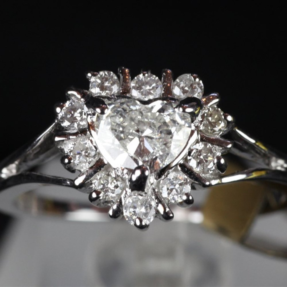 14ct White Gold Diamond Heart Cluster Ring