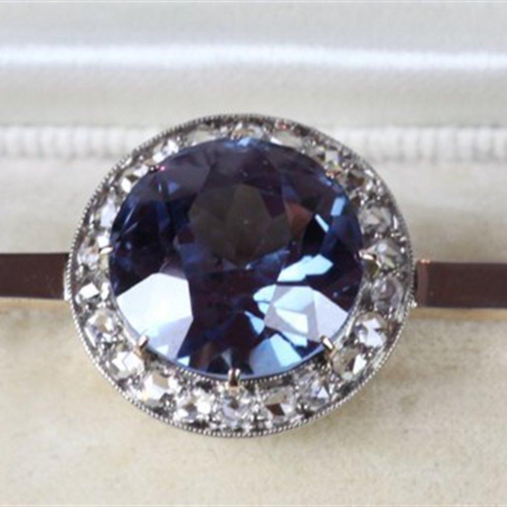 1910 Synthetic Alexandrite & Old Cut Diamond Bar Brooch