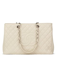 Chanel Off-White Quilted Caviar Leather Grand Shopping Tote XL