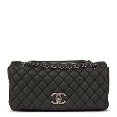 Chanel Dark Grey Bubble Quilted Velvet Calfskin Small Bubble Flap Bag