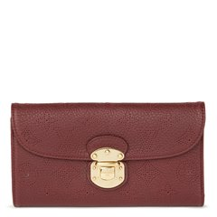 Louis Vuitton Bordeaux Perforated Mahina Calfskin Leather Amelia Wallet