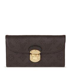 Louis Vuitton Chocolate Perforated Mahina Calfskin Leather Amelia Wallet