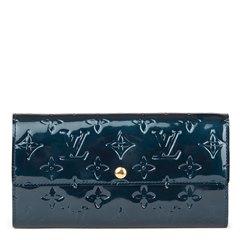 Louis Vuitton Bleu Nuit Monogram Vernis Leather Sarah Wallet