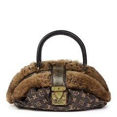 Louis Vuitton Black Denim, Chinchilla Fur, Lizard & Python Leather Trim Demi Lune MM