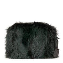 Louis Vuitton Vert Fonce Fox Fur & Lambskin Pochette Chaine Renard