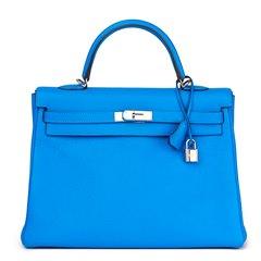 Hermès Blue Hydra Clemence Leather Kelly 35cm Retourne