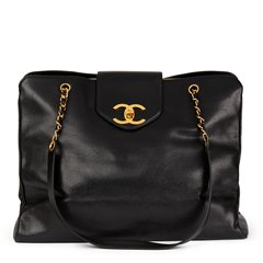 Chanel Black Caviar Leather Vintage Jumbo XL Supermodel Tote