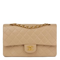 Chanel Beige Quilted Lambskin Leather Medium Classic Double Flap