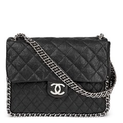 Chanel Black Quilted Calfskin Chain Around Maxi Flap Bag