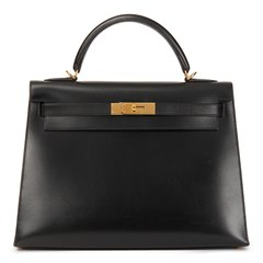 Hermès Black Box Calf Leather Kelly 32cm Sellier