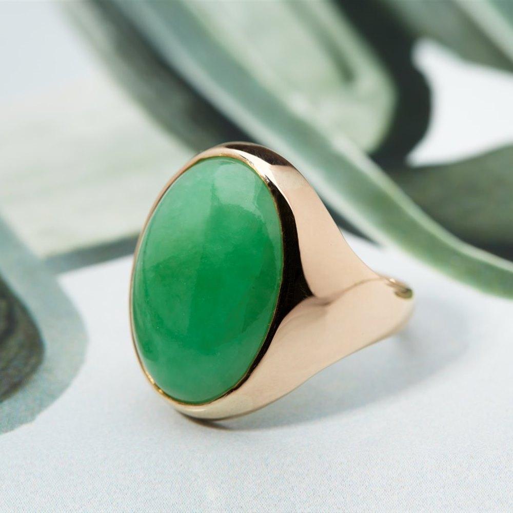 Chinese Jade 14K Yellow Gold Ring