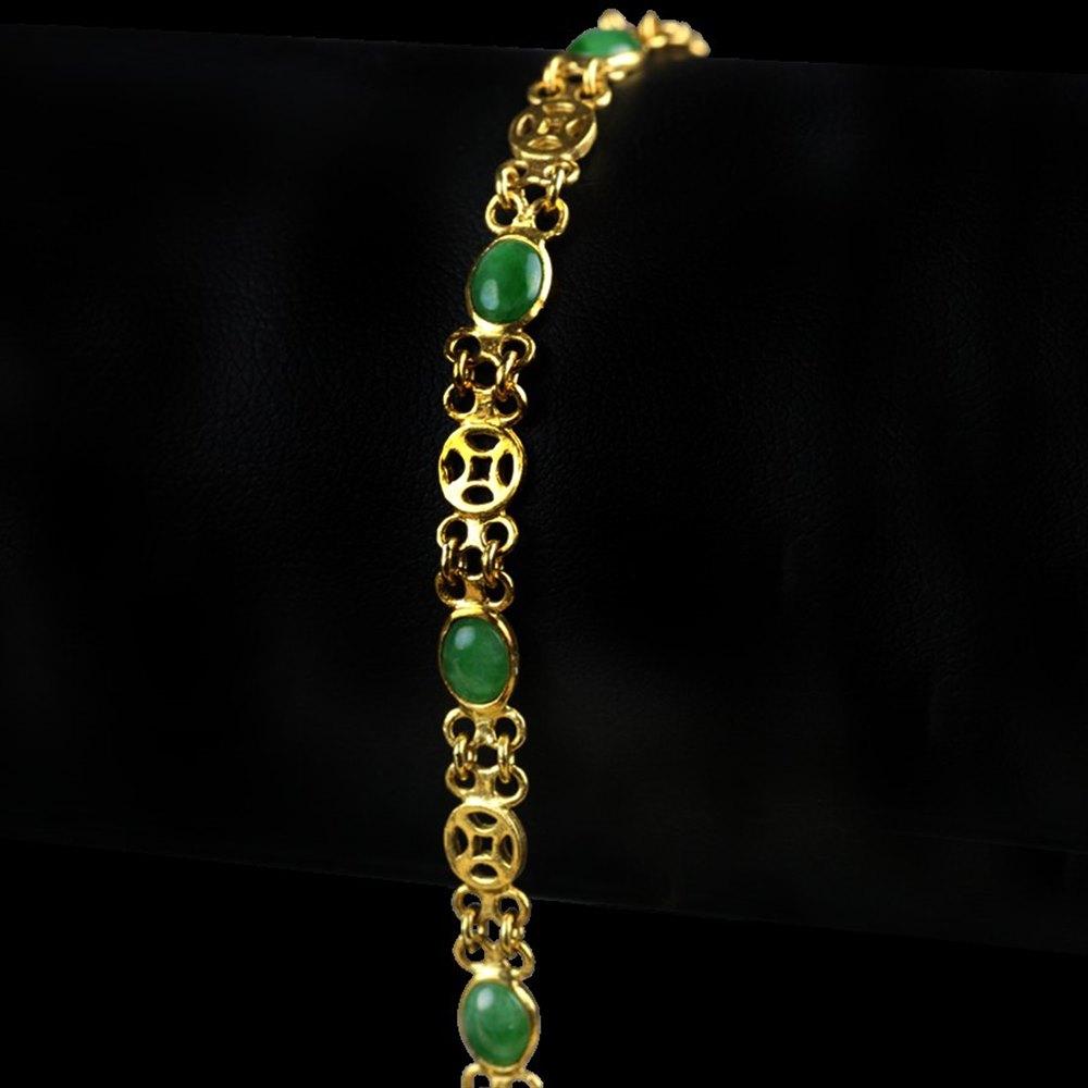 Chinese Jade & Yellow Gold Bracelet