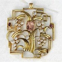 Wiener Werkstätte Wiener Werkstätte 14k Yellow Gold Topaz, Diamond & Ruby Pendant