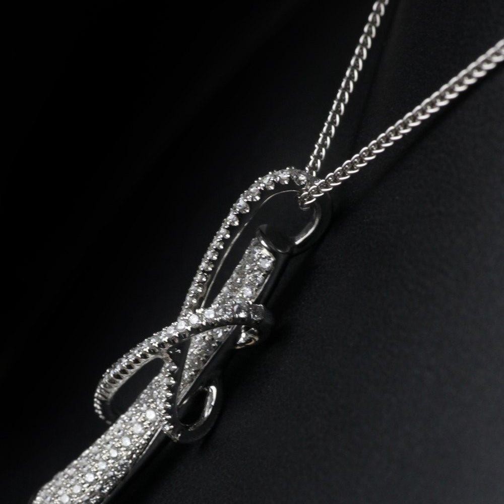 18k White Gold Unusual Pave Diamond Pendant Necklace
