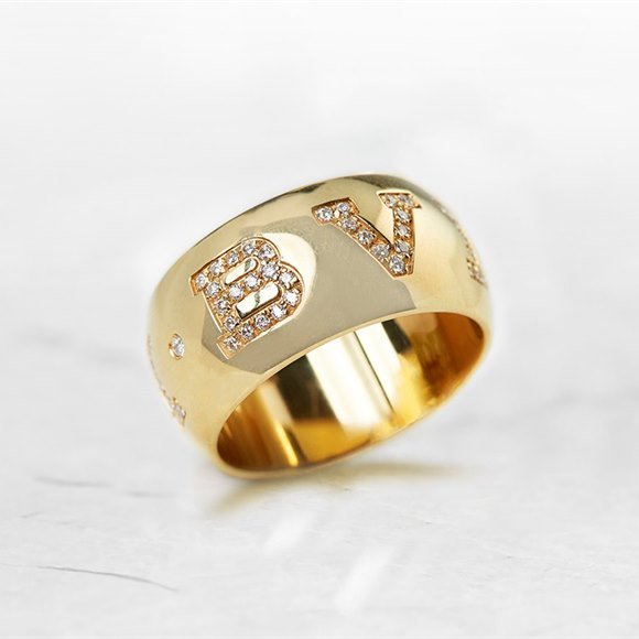 Bulgari 18k Yellow Gold 0.50ct Diamond Monologo Ring