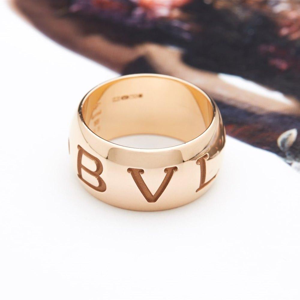 Bvlgari (or Bulgari)18K Rose Gold Monologo Ring Size 55