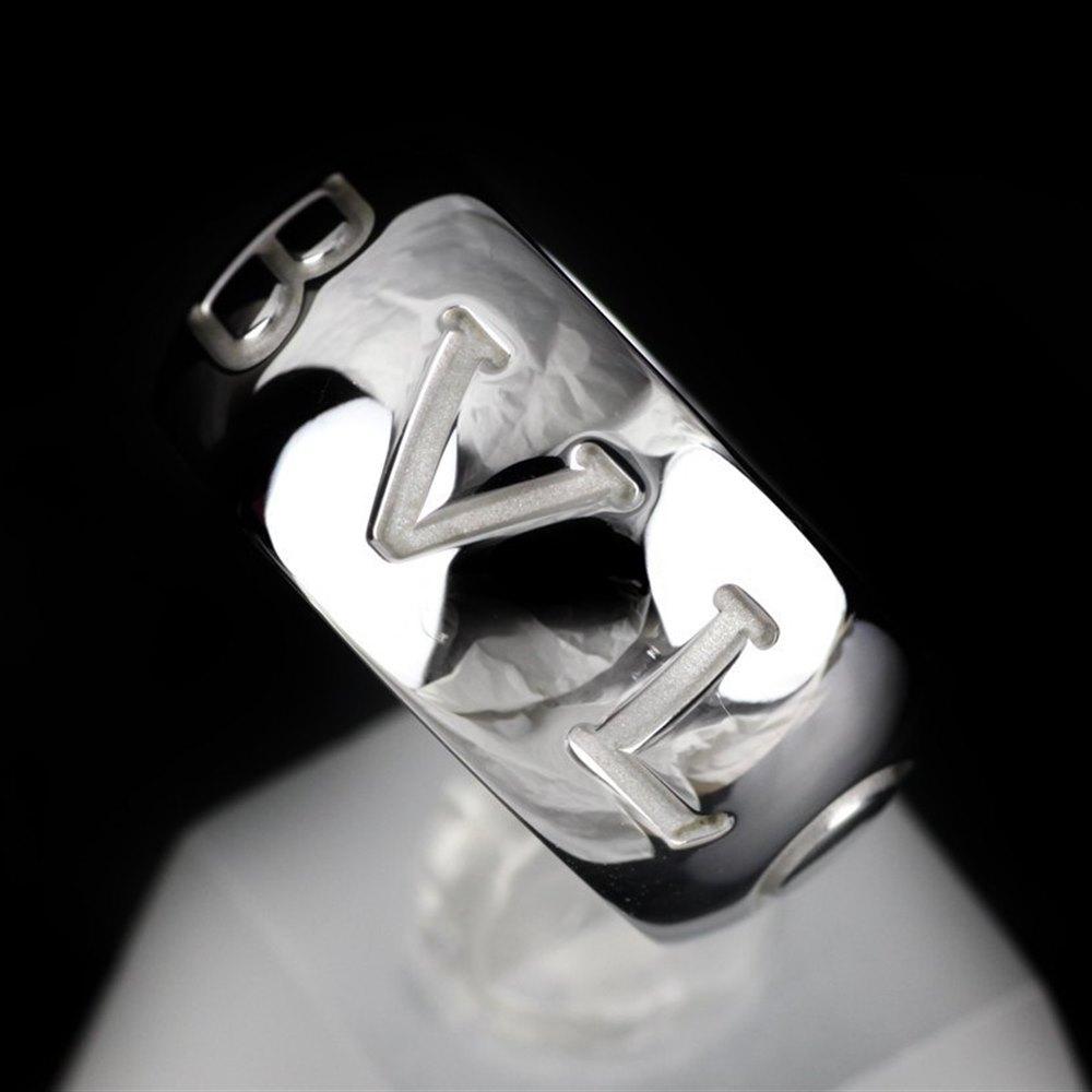 Bvlgari (or Bulgari)18K White Gold Monologo Ring Size 55