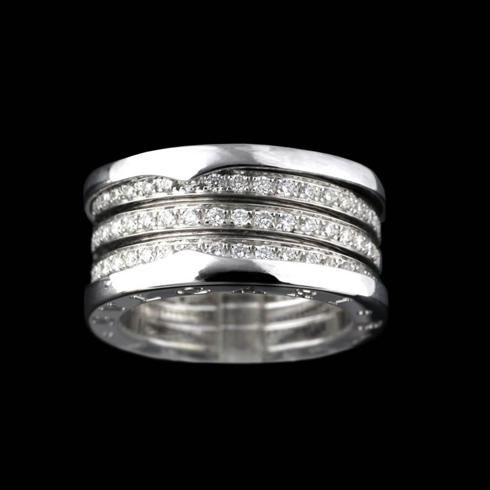 Bvlgari (or Bulgari) B Zero 1 4 Bank 18k White Gold Diamond Ring Size 54