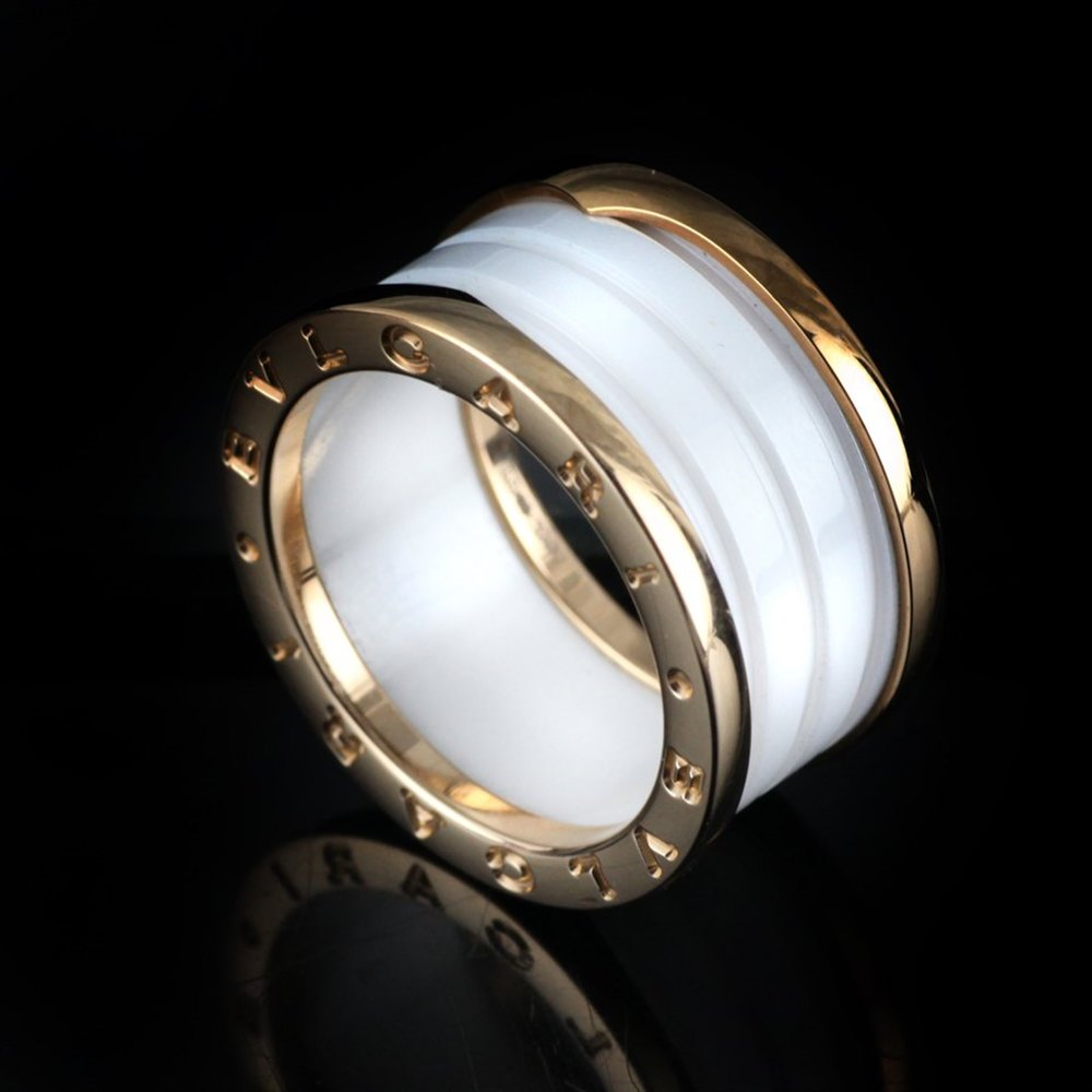 Bvlgari (or Bulgari)B Zero 1 4 Bank 18k Rose Gold & White Ceramic Ring Size 56