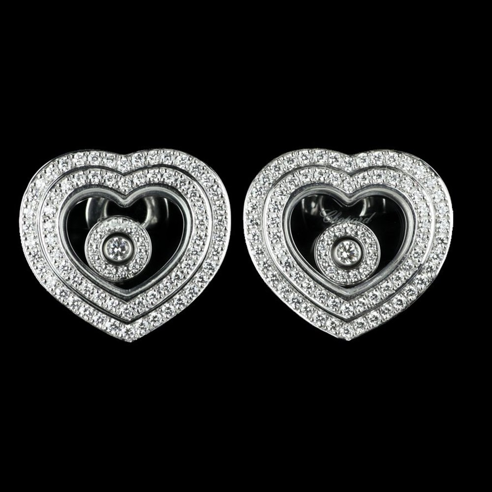 Chopard Happy Diamonds Hearts 18K White Gold Diamond Earrings