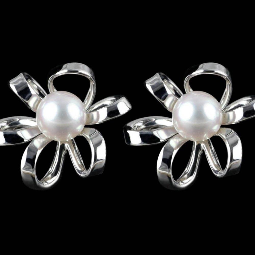 Mikimoto Blossom 18k White Gold Akoya Pearl Earrings