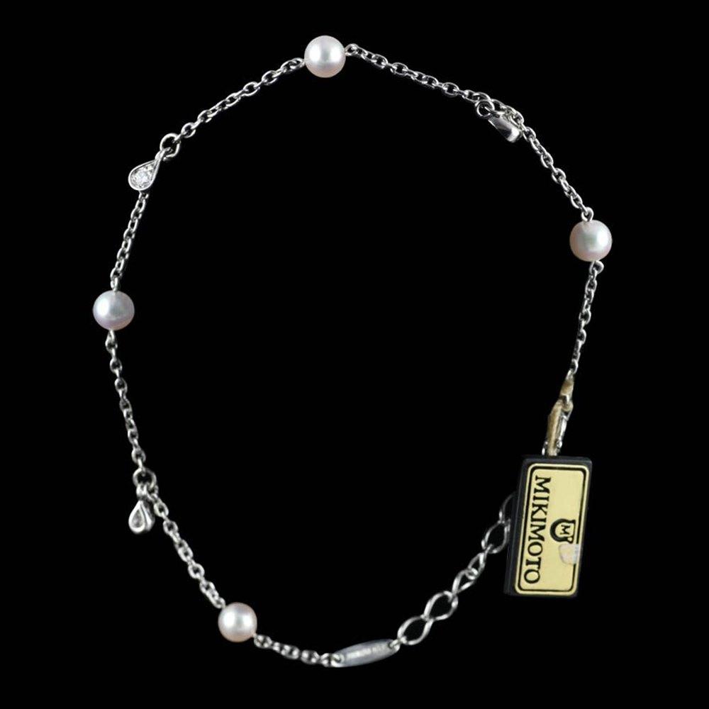 Mikimoto Eve 18k White Gold Akoya Pearl & Diamond Bracelet