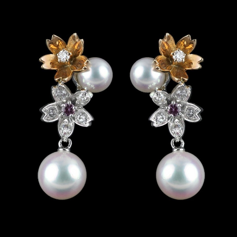 Mikimoto Blossom 18k White & Rose Gold Akoya Pearl Diamond Earrings