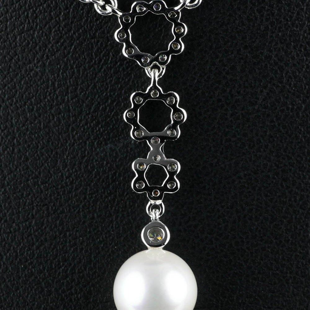 Mikimoto Lace 18k White Gold Akoya Pearl & Diamond Pendant Necklace