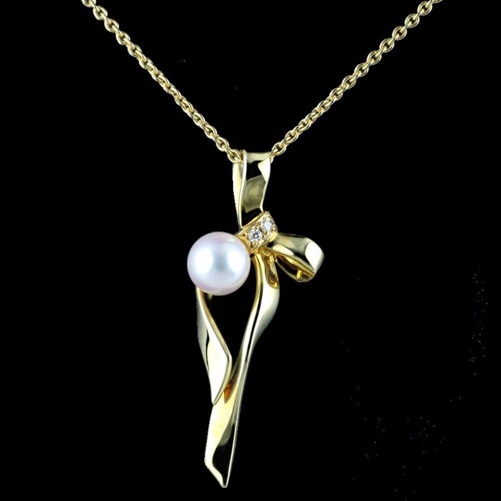 Mikimoto Bow 18k Yellow Gold Akoya Pearl & Diamond Pendant Necklace