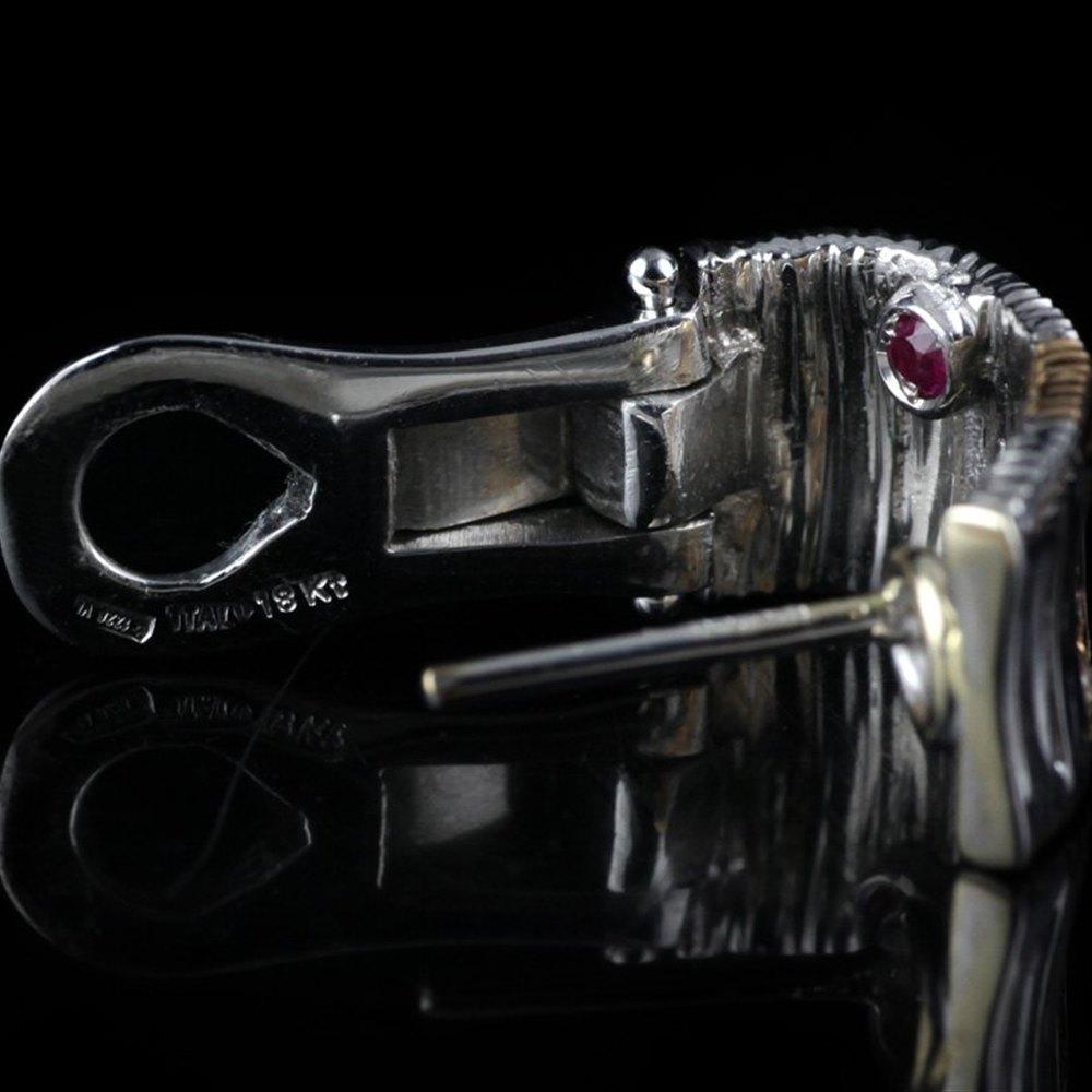 Roberto Coin Elephantino 18K White & Rose Gold Diamond Earrings