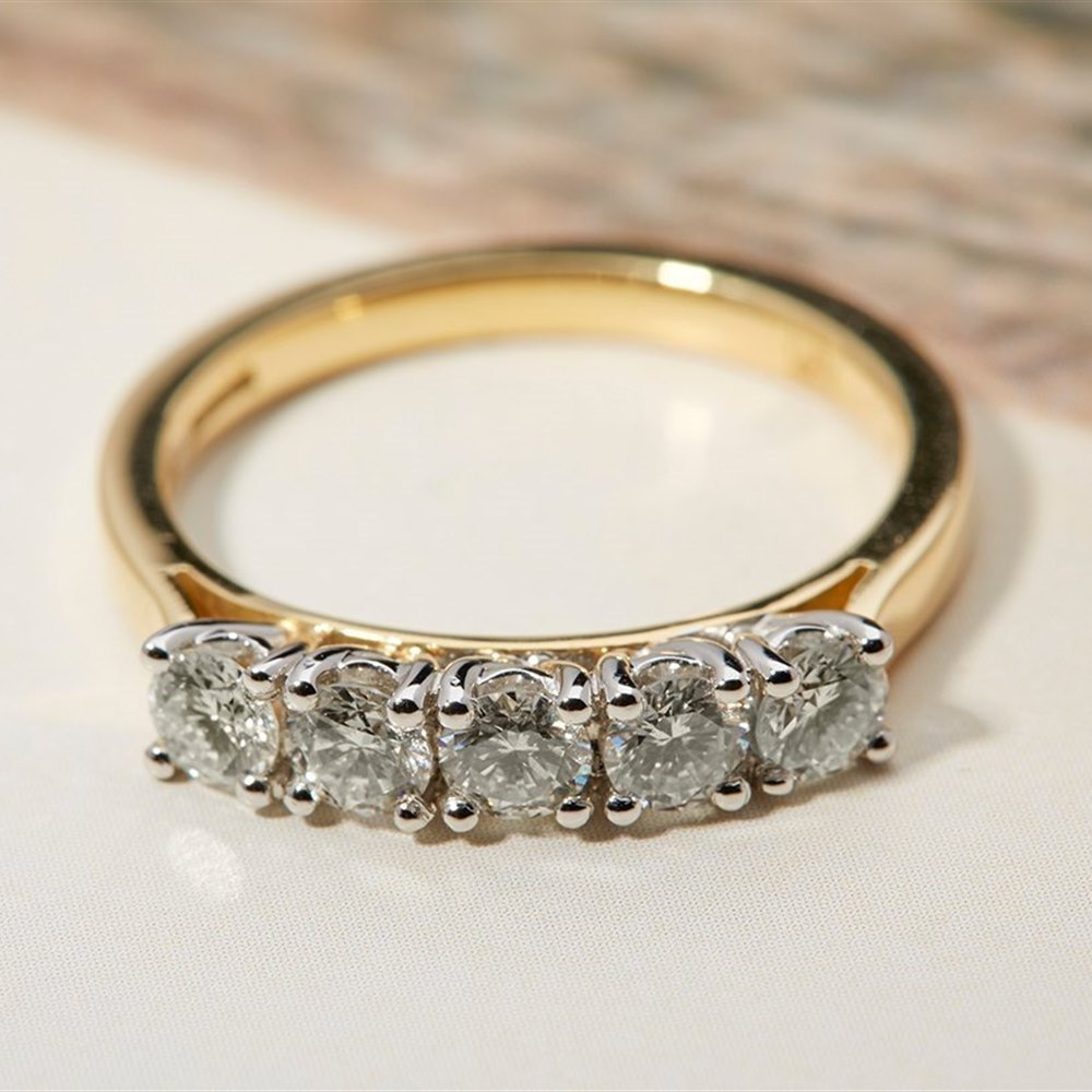 Mappin & Webb 18k Yellow Gold & Platinum 0.75 cts G VS1 Diamond Ring Size M
