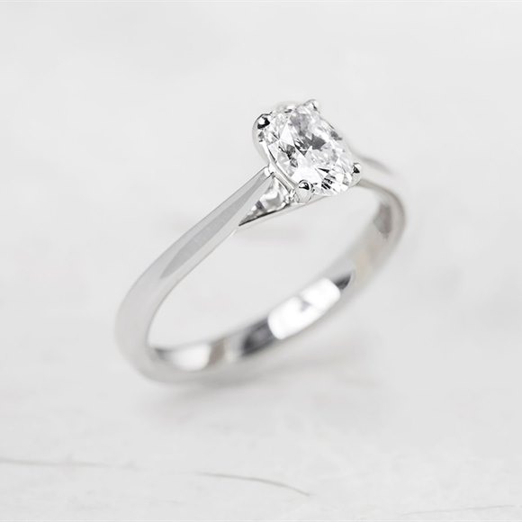 Mappin & Webb Platinum Oval Brilliant Cut 0.77ct Diamond Engagement Ring