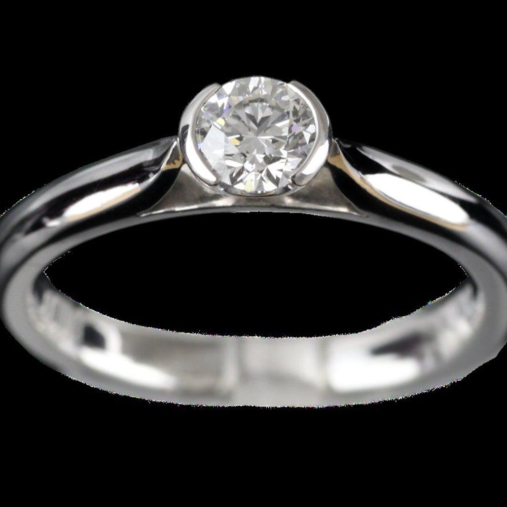 Mappin & Webb Platinum Round Brilliant Cut 0.33 cts G VS2 Diamond Ring Size L
