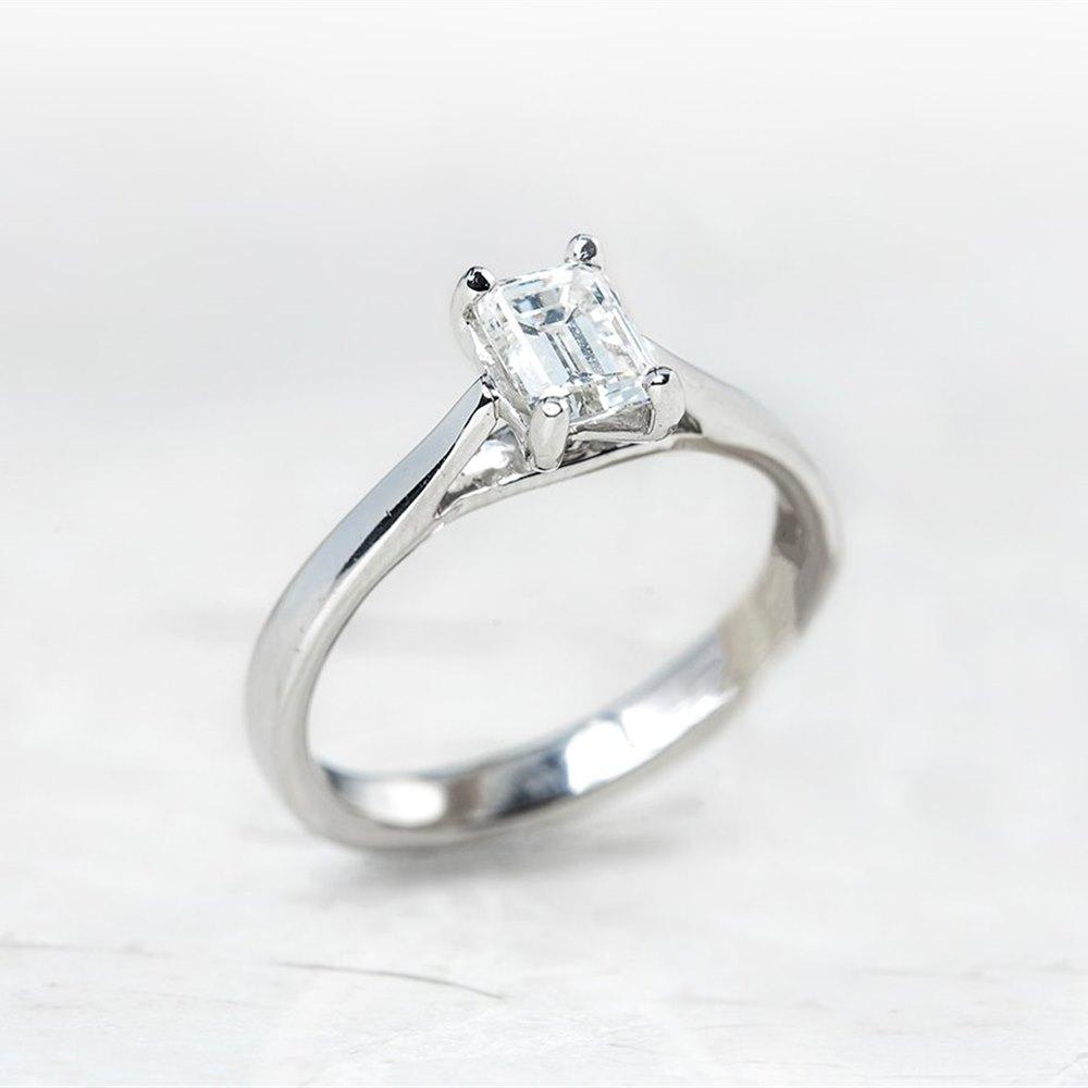 Mappin & Webb Platinum Emerald Cut 0.81ct Diamond Engagement Ring