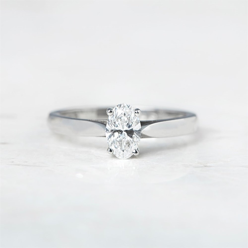 Mappin & Webb Platinum Oval Cut 0.50ct Diamond Engagement Ring