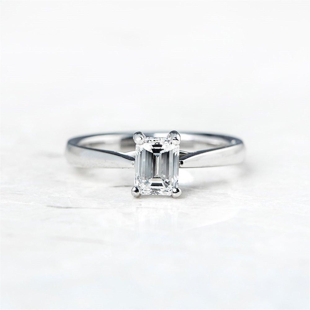 Mappin & Webb Platinum Emerald Cut 1.05ct Diamond Ring