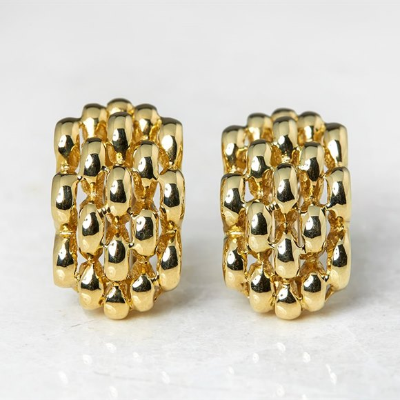 David Morris 18k Yellow Gold Honeycomb Clip On Earrings