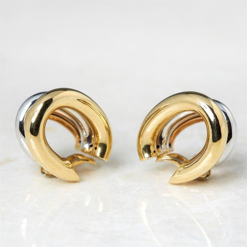 David Morris 18k Yellow, White & Rose Gold Clip On Hoop Earrings
