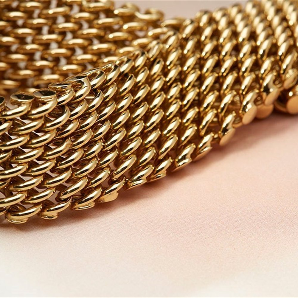 18k Yellow Gold Chain Link Choker Necklace