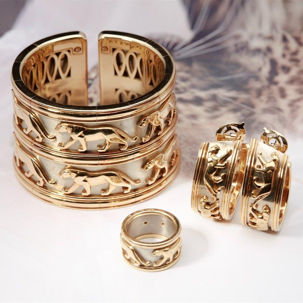 Cartier Rare White Metal & 18k Yellow Gold Panthere Bracelet, Ring & Earring Set