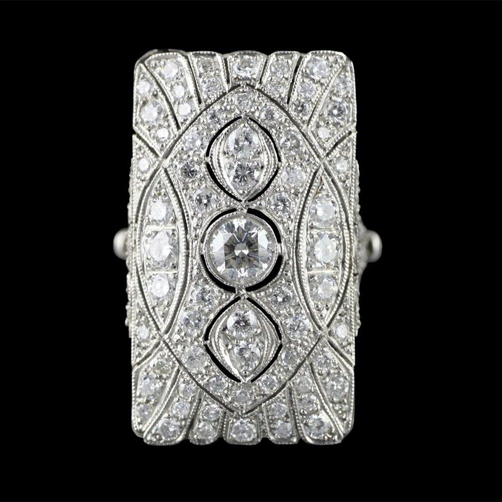 Art Deco Platinum 2.3cts Diamond Cocktail Ring