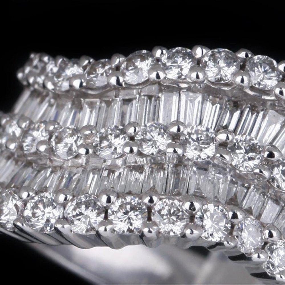 18k White Gold Wave Diamond Half Eternity Ring