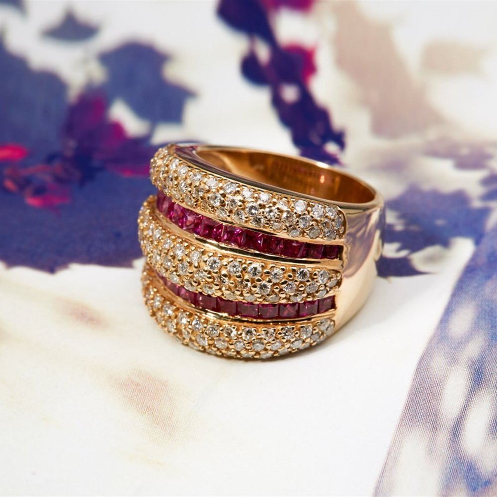 18K Yellow Gold Ruby & Diamond Pave Wide Band Ring