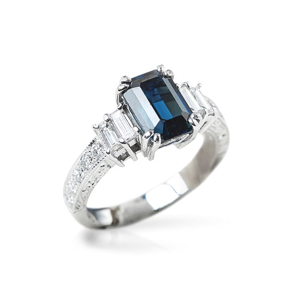 18k White Gold 3.03ct Step Cut Sapphire & 0.88ct Diamond Ring