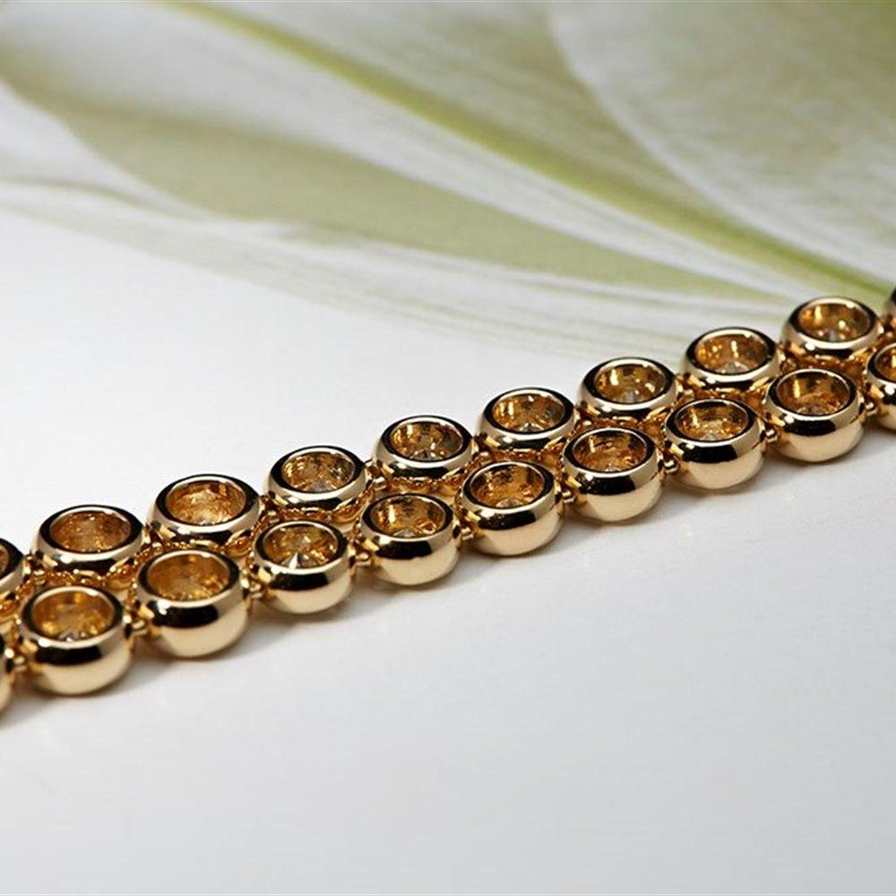 18K Yellow Gold 10.00 cts Brilliant Cut Diamond Tennis Necklace