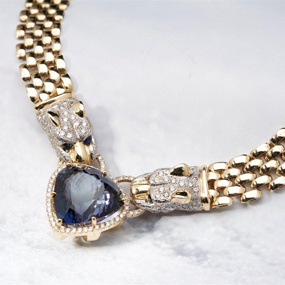 14K Yellow Gold Italian GIA Natural 34.36 cts Tanzanite & Diamond Panther Necklace