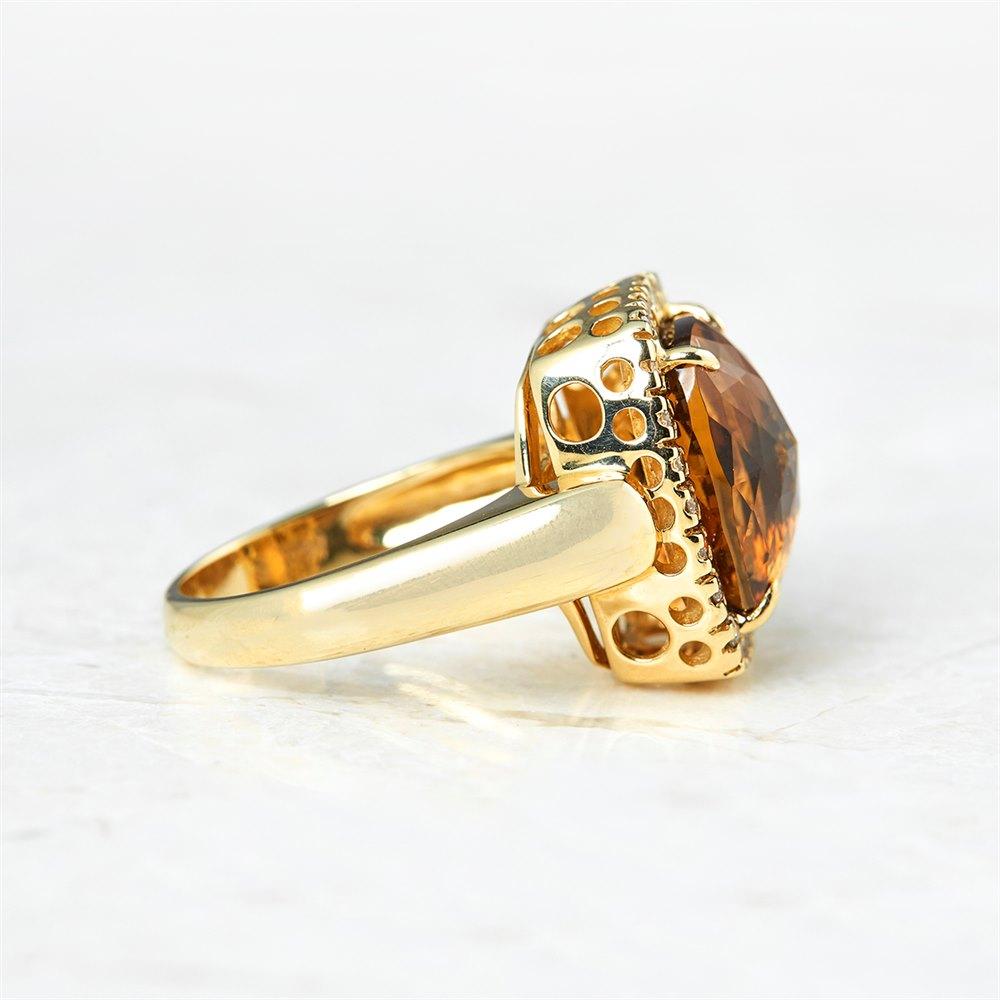 14k Yellow Gold 6.00ct Citrine & 0.40ct Diamond Ring